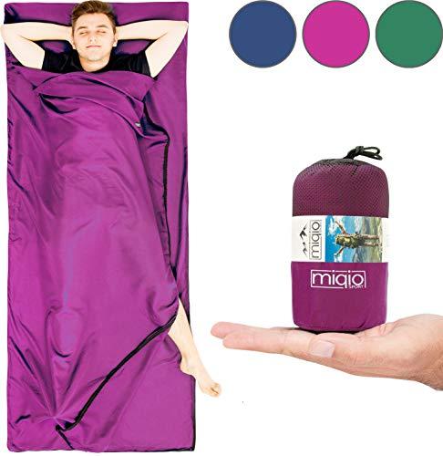 Miqio® 2in1 Hüttenschlafsack mit durchgängigem Reißverschluss (Links/rechts): Leichter Komfort Reiseschlafsack + XL Reisedecke in Einem - Sommer Schlafsack Innenschlafsack Inlett Inlay - Roseviolett