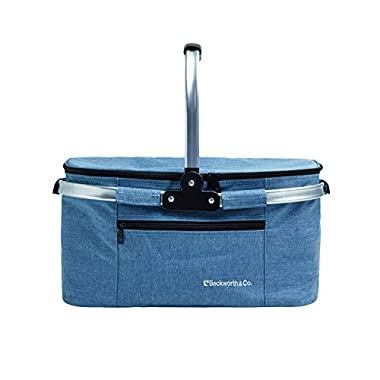 Beckworth & Co. SmartFold Picnic Basket - Foldable Collapsible Insulated Picnic Basket 32L - Blue