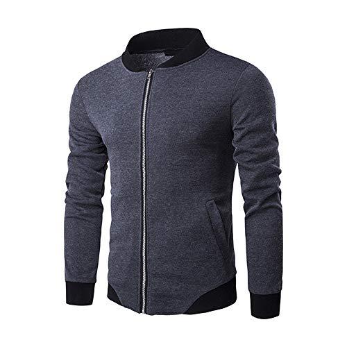 ZY Glaa Men Tops Mens Zipper Sweatshirt Sport Tops Long Sleeve Plaid Cardigan Jacket Soft Coat Outwear Coat for Men Full Zip Sale Autumn Winter Long Sleeve Jacket Lightweight Smart Gray