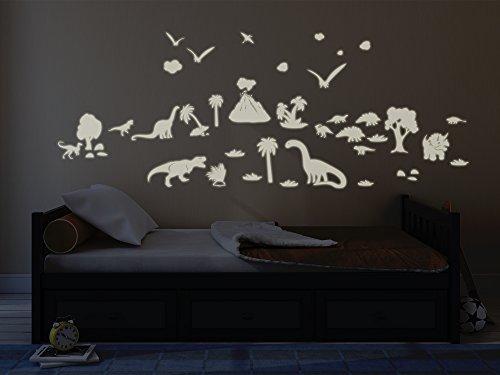 Bilderdepot24 Leuchtfolie Dinosaurier - Fluoreszierend und Nachtleuchtend – leuchtende Folie - Wandaufkleber - Wandtattoo