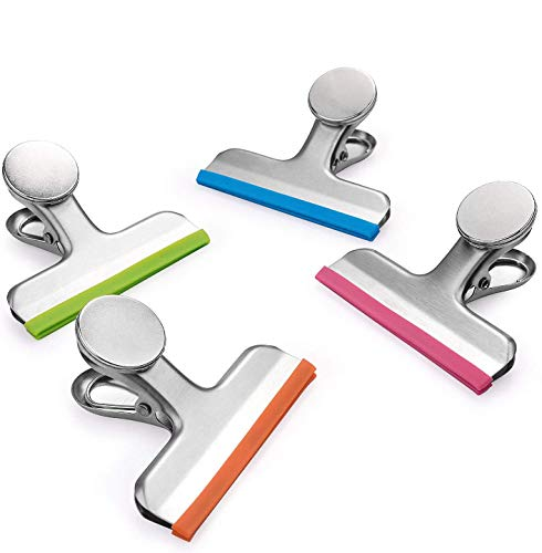 8 Pack All Purpose Chip Bag Clips with Magnet  NO More Sharp Edges  4 Assorted Colors  Magnetic Bag Clip Great for Home Kitchen Refrigerator Office School Whiteboard 3 Inches