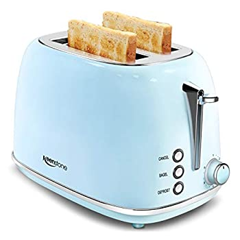 2 Slice Toaster Retro Stainless Steel Toaster with Bagel Cancel Defrost Function and 6 Bread Shade Settings Bread Toaster Extra Wide Slot and Removable Crumb Tray Blue