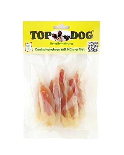 Top Dog Kaninchenohren mit Hühnchenfilet - Filet in Streifen - zuckerfrei - 70g (1x 70g)