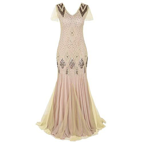 showsing vrouwen korte mouw V-hals lengte lange cocktailjurk, vintage 1920s kraal franje pailletten kant partij jurk jurk