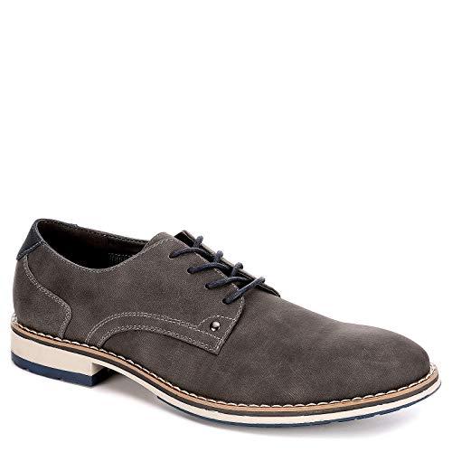 VARESE Nick Herren-Oxford-Schuhe zum Schnüren, einfarbiger Zehenbereich, Grau (grau), 41 EU