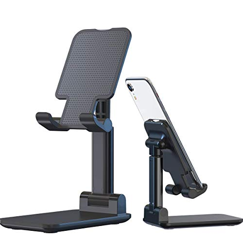 Adjustable Cellphone Stand for Desk, MECO Angle Height Adjustable Phone Holder for Desk, Fully Foldable Phone Stand, Cradle, Tablet Stand, Compatible with Mobile Phone/ iPad/Tablet/Kindle(Black)
