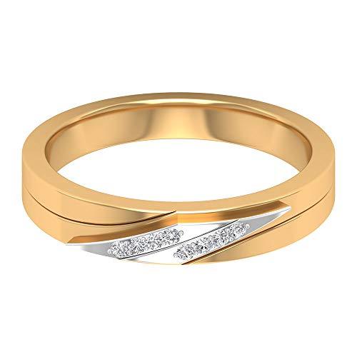 SGL Certified Diamond Verlobungsring, Mischmetall Bräutigam Ehering, Statement Vater Wide Band Ring, Klassisch Gold Vintage Herren Eternity Ring, 10K Gelbes Gold, Size:EU 51