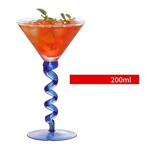Cóctel de Vidrio cristalino de Margarita Martini Triangular Champagne Goblet Burbuja Taza del Vino, Azul lalay (Color : Blue)