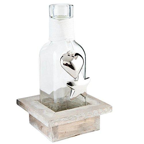 Clayre & Eef 63642 glazen fles/decoratiefles in houten houder 9 x 9 x 15 cm