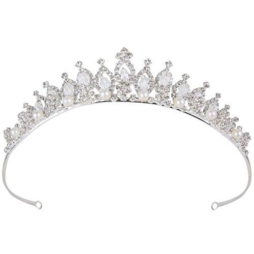 Clearine Damen Kristall Victorian Stil Künstliche Perlen Bling Hochzeit Braut Krone Haarschmuck Diademe Silber-Ton