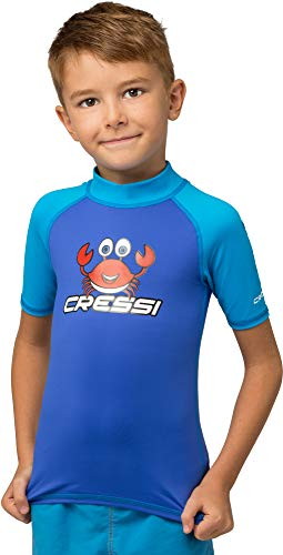 Cressi Unisex-Kinder Rash Guard Short Jr, Royal/Aquamarine, 2/3 Jahre (98 cm)