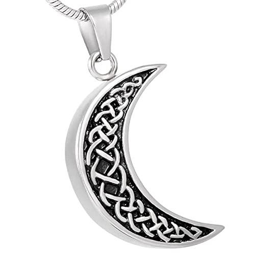 PicZhiwenture Memorial Moon Funeral Urn Necklace Stainless Steel Ashes Keepsake Urn Pendant Necklace Women Necklace Jewelry
