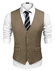 ★Well-Made: With high-quality professional fabric and neat stitching, this casual waistcoat can keep the sharp all time. The adjustable back belt offers a more accurate fit. ★Classic Design: Classic single-breasted vest design, V-neck, 5 buttons and ...