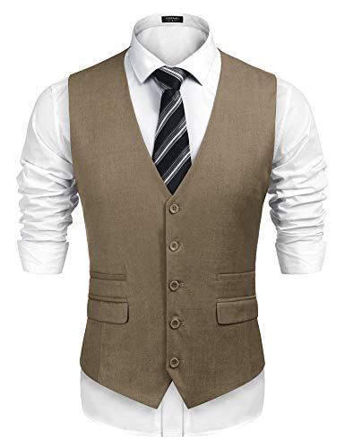 COOFANDY Men's Business Suit Vest,Slim Fit Skinny Wedding Waistcoat (X-Large, Khaki)