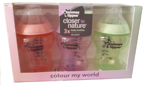 Tommee Tippee Closer to Nature Colour My World 260 ml/ 9 fl oz Decorated Feeding Bottles, Pack of 3 (Girls Colors)