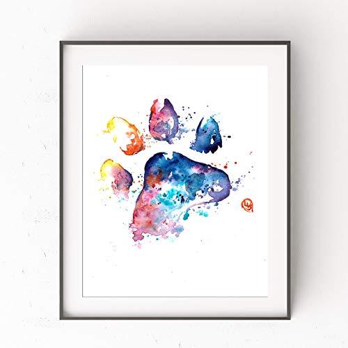 Rainbow Bridge Paw Print Wall Art by Whitehouse Art | Dog Decor, Dog Mom Gifts, Dog Birthday, Pet Memorial Gift, Dog Memorial Gifts | Artwork Print of Paw Print Original Watercolor Painting | 2 Sizes