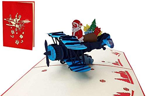 LIN17660, Pop Up 3D Karte Weihnachten, Grußkarten Weihnachten, Weihnachtskarten, Weihnachtsmann im Flugzeug, N455
