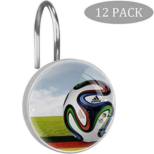 Bennigiry 12 Stück Sport Fußball Duschvorhang-Haken, r&e Kristallglas-Duschvorhänge für Bad & Wohnzimmer, Edelstahl, Multi3, Einheitsgröße