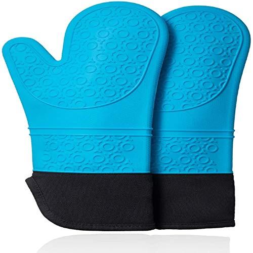 Guantes de horno y kits de soporte de sartén marco antideslizante para cocinar y ASAR guantes de horno guantes de horno gel de sílice resistente al calor y algodón (2 piezas)