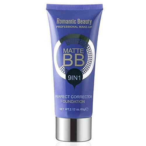 9 en 1 Matte BB Cream Face Ance Cover Blanqueamiento Hidratante Impermeable Rostro Líquido Corrector de base Cobertura total Aclarador Corrector CC Crema Protector solar Base de maquillaje