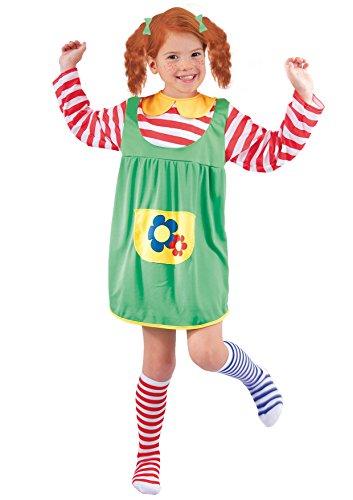 FIORI PAOLO–Disfraz de niña Pippi Calzaslargas M (5-7 anni) Verde