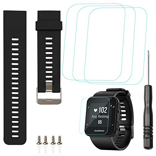 AFUNTA Reemplazo Banda de silicona y 3 PCS Protector de pantalla de cristal Compatible Reloj inteligente Garmin Forerunner 35, Correa de pulsera y Película antirrayas para 3 PCS - Negro