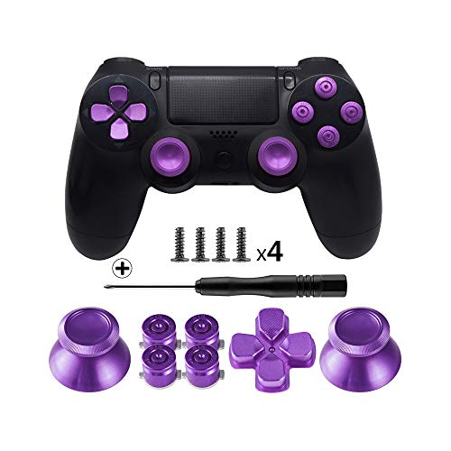 TOMSIN Metal Buttons for DualShock 4, Aluminum Metal Thumbsticks Analog Grip & Bullet Buttons & D-pad for PS4 Controller (Metal Purple)