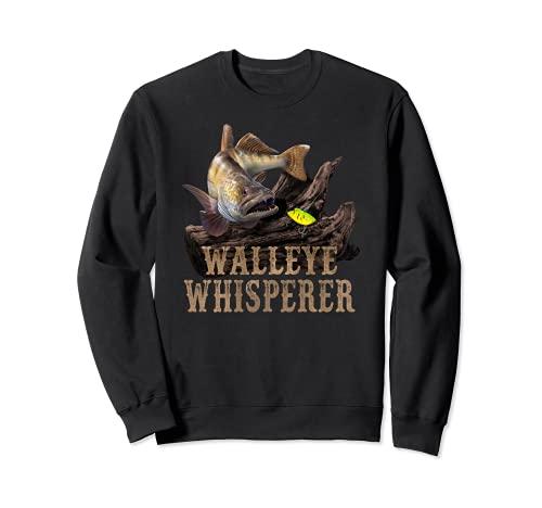 Walleye grande con el dibujo del señuelo de la pesca: Walleye Whisperer Sudadera
