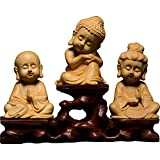 Bodhisattva Figuren,Guanyin Bodhisattva Statuen Amitabha Wenig Skulpturen Buchsbaum Holz Carving Meditieren Buddha Statue Zen Startseite Dekor-Set der drei heiligen der west+base 15*4*10.5cm
