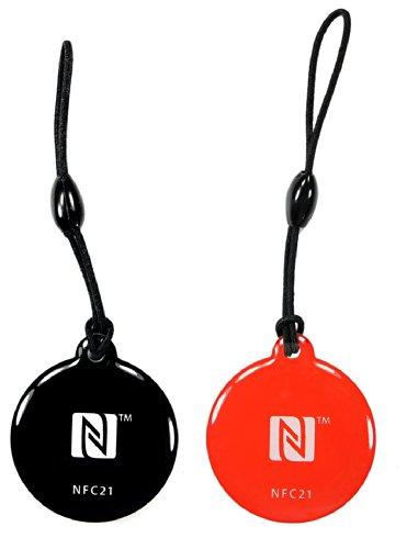 NFC Anhänger Style, 30mm, NTAG216, 888 Byte, schwarz, rot, 2 Stück, Kompatibel mit Allen NFC Smartphones