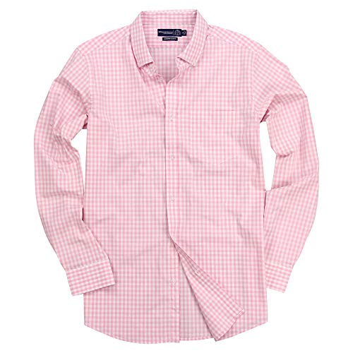 Men's Long Sleeve Slim Fit Button Down Stretch Gingham Plaid Casual Shirt (Pink/White, Slim Fit: XX-Large)