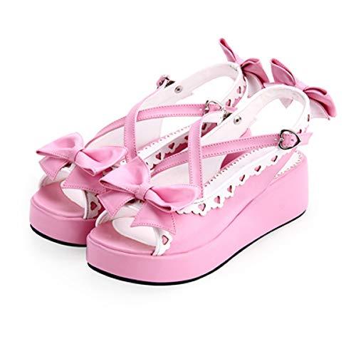 HHXXTTXS Sweet Lolita Cosplay Sandalias de Tiras Lovely Bowknot & Lace Trim Platfrom Wedge Girls Summer Shoes