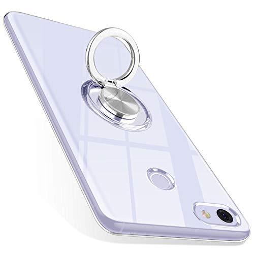 ZHIYIJIA Google Pixel 3A XL Hülle Ultra Dünn Clear Silikon Handyhülle Mit 360 ° Verdrehbare Ring für Magnetischen Autohalterungen,für Google Pixel 3A XL Hülle