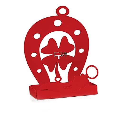 Arti & Mestieri Buona Fortuna - Porta zampirone da Tavolo di Design 100% Made in Italy - Ferro, 17 x5 x 19 cm - Rosso