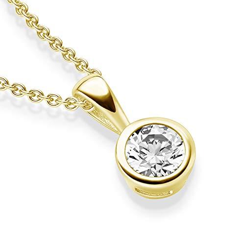 Kristall Anhänger Gold von AMOONIC mit Zirkonia Anhänger (Silber 925 vergoldet) +inkl Luxusetui Kettenanhänger rund vergoldet Zirkonia wie Diamant Anhängerkette Kette FF208VGGGZIFA45
