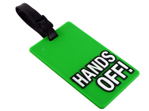 FUNKY TRAVEL LUGGAGE SLOGAN 'HANDS OFF' LUGGAGE TAG/LABEL - LONG LASTING - RUBBER TAGS - BRIGHT COLOURS - EASY TO ATTACH WITH BAG - SIZE : 8CM X 5CM - AVAILABLE 4 DIFFERENT TYPE OF LUGGAGE TAG