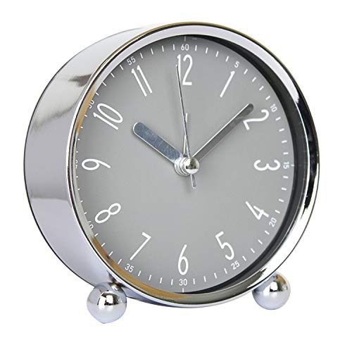 gumeng Despertador de mesilla de Metal Reloj Despertador Digital CreativoChapado Caja de Campana de Plata + Esfera de Reloj Gris Niebla