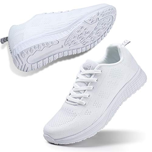 STQ Women's Athletic Walking Shoes Casual Mesh Comfortable Jogging Sport Walking Work Sneakers Gym Fitness 5.5 White
