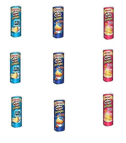 Testpaket Pringles Ketchup-Salt & Vinegar-Ham & Cheese 9 x 160g Kartoffel chips