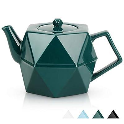 Teapot, Toptier Porcelain Tea Pot with Stainless Steel Infuser for Loose Tea, Diamond Design Ceramic Teapot for 34 Ounce (1000 ml), Green