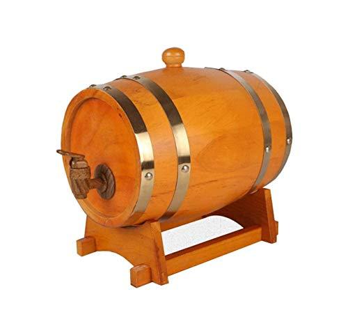 Haushalt Holz Weinfässer für Weinbehälter Eichenfass Weinfass, spezieller Holz Weinspender, Lagerung Bier Whisky Wein Cocktail Rum 5L (Farbe : Gelb)