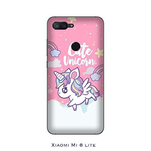 Desconocido Funda Mi 8 Lite Carcasa Xiaomi Mi 8 Lite Unicornio Linda/Cubierta Imprimir también en los Lados/Cover Antideslizante Antideslizante Antiarañazos Resistente a Golpes Protectora Rígida