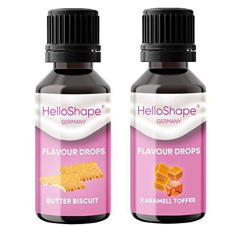 Flavour Drops zuckerfrei Set 2x 30 ml - Butterkeks & Karamell-Toffee   Geschmackstropfen OHNE KALORIEN zum Süßen mit Dosierhilfe   vegan   Für Naturjoghurt, Porridge oder Quark - Hello Shape