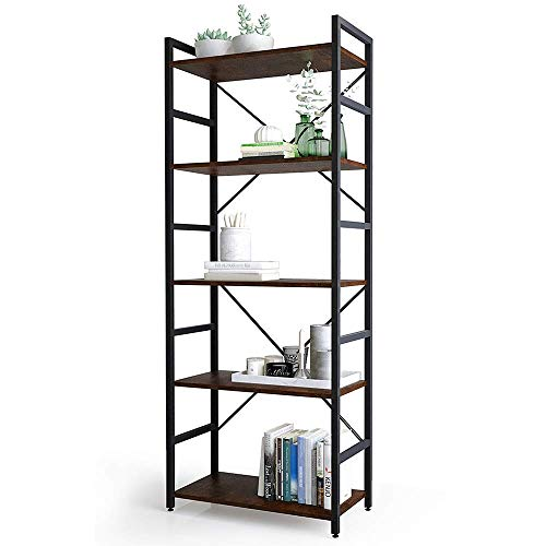 Haton Bookshelf, 5-Tier Wood Bookcase with Metal Frames, 5-Shelf Industrial Storage Shelf Organizer, Modern Tall Display Shelf Racks Open Wide Standing Shelving Unit for Home Office Study 62-inch