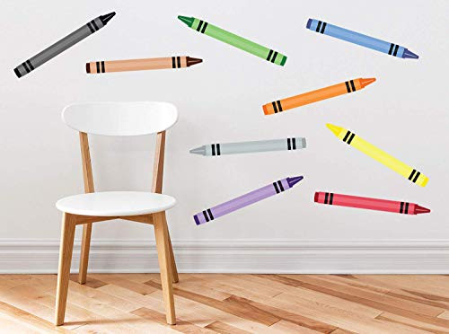 Sunny Decals Large Crayon Wall Decals - Set of 9 Removable Fabric Kids Wall Stickers (16 Inches Long)