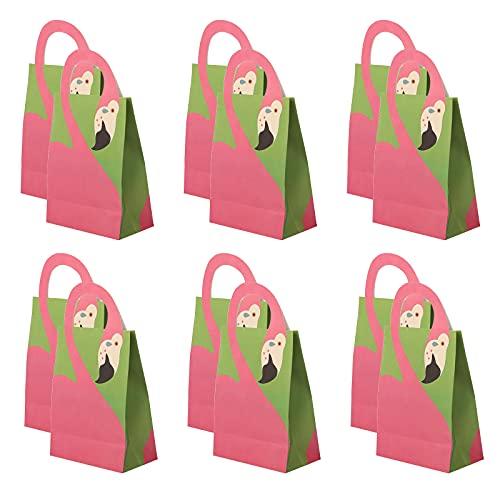 12 bolsas de regalo para fiestas, bolsas de papel Kraft con asa, papel de seda, flamenco para fiestas, compras, graduación, bodas