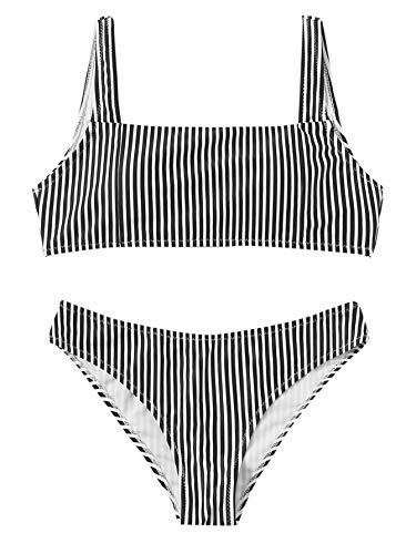 SweatyRocks Women's Bathing Suits Striped Scoop Neck Bikini Set Swimsuit Stripe-Black Small