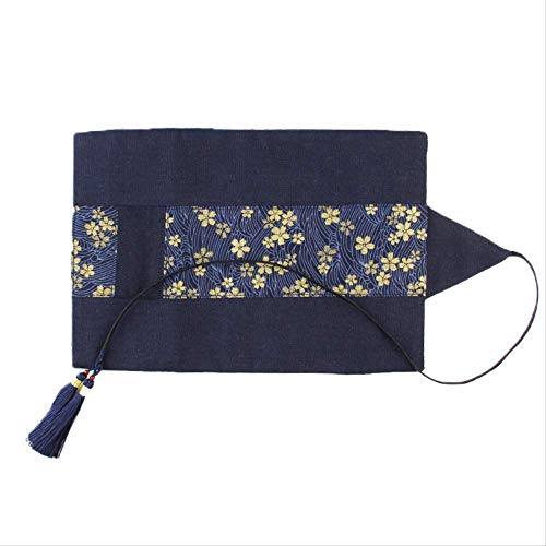 Vintage Style Pen Curtain Große Kapazität Rolle Federmäppchen Tuch Malerei Bleistiftbeutel Blue Cherry Blossom Pocket Tassel