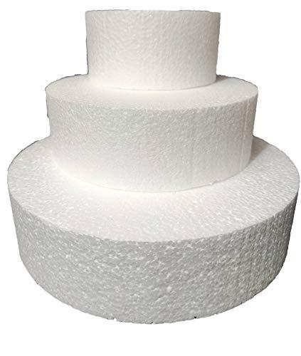 Set 3 Piani Polistirolo, Disco Polistirolo Rotondo Ø 10-15-20 H 5 cm per Torte finte Compleanno, Battesimo, Nascita, Comunioni, Feste in Genere