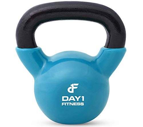 Kettlebell Weights Vinyl Coated Iron by Day 1 Fitness- 25 Pounds - Coated For Floor and Equipment Protection, Noise Reduction - Free Weights For Ballistic, Core, Weight Training